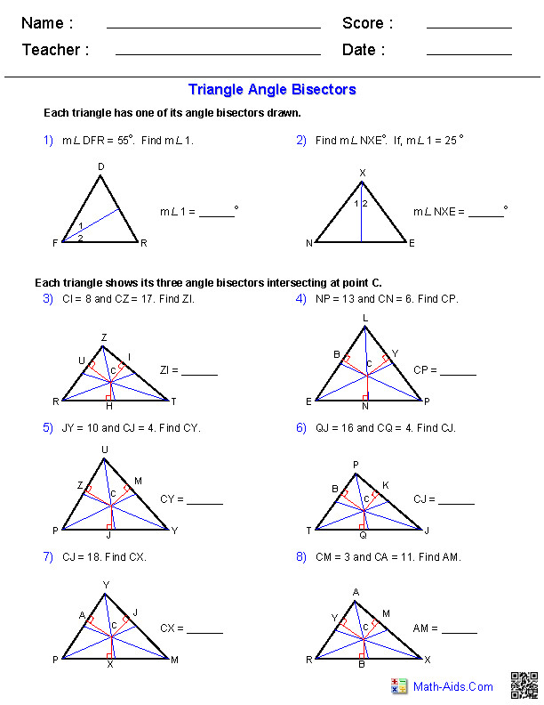 Angle Bisectors Worksheets