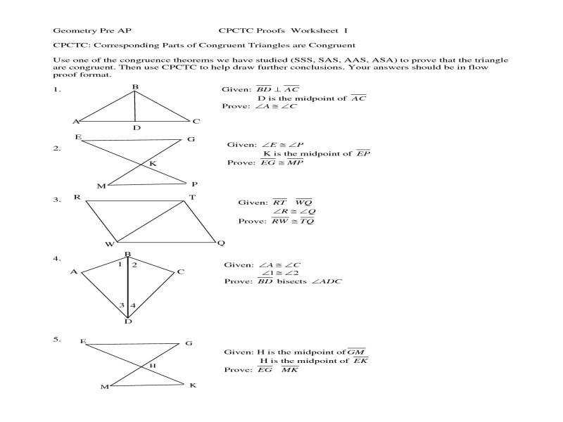 Congruent Triangles Worksheet Worksheets