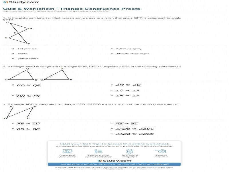 Quiz & Worksheet – Triangle Congruence Proofs
