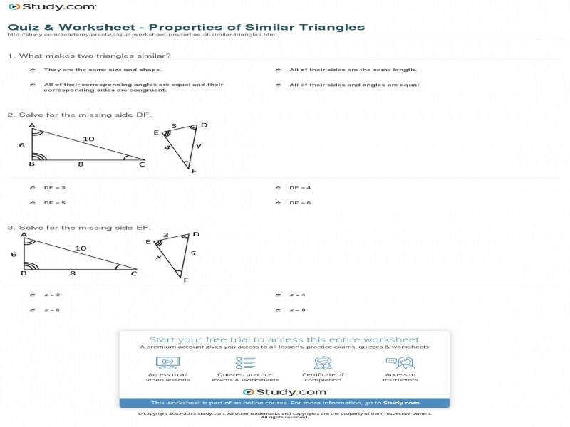Quiz & Worksheet – Properties Similar Triangles