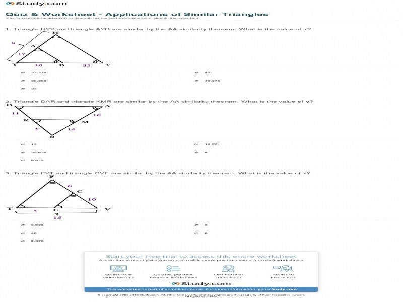 Quiz & Worksheet – Applications Similar Triangles