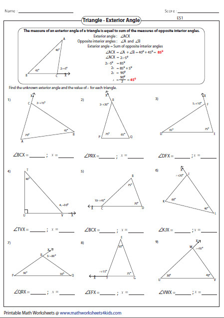 Missing exterior angles