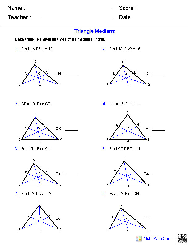 Triangle Worksheets · Median Worksheets