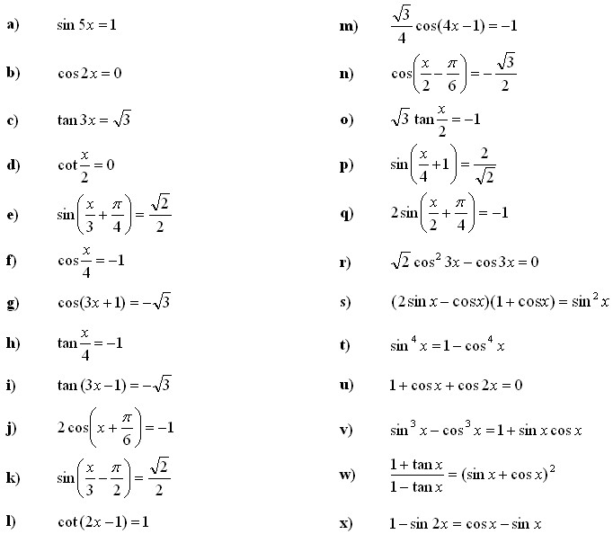 Trigonometric equations and inequalities Exercise 2