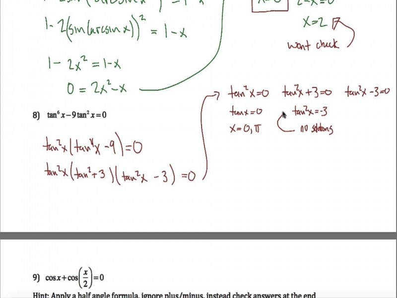 Trig Equations Worksheet Part 2 – Youtube