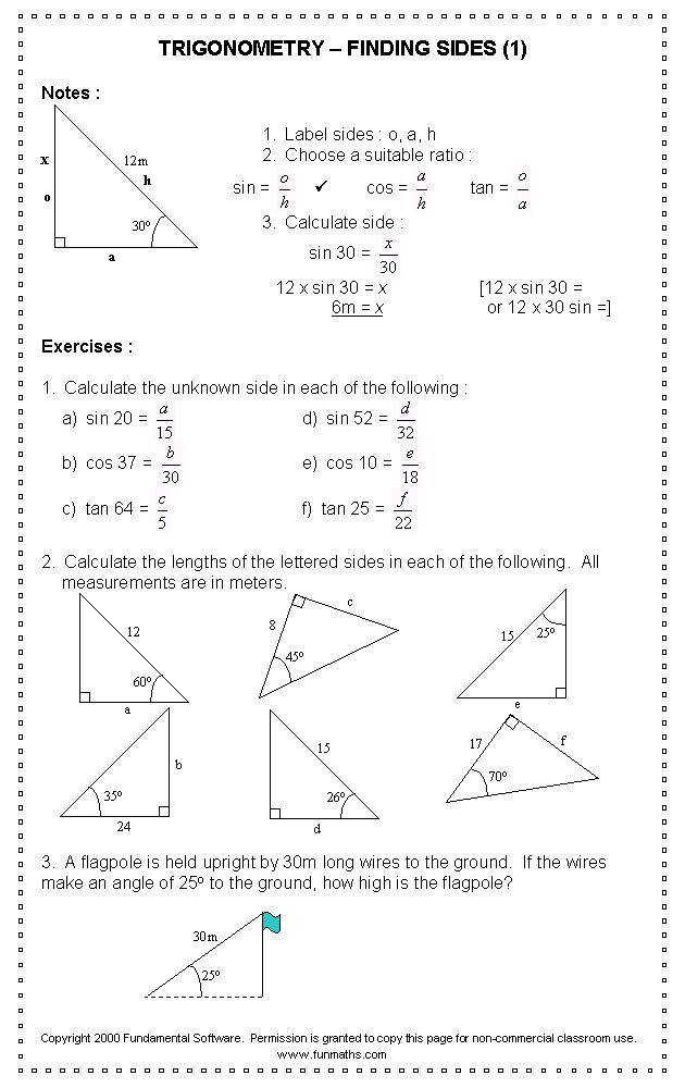 Trigonometry Worksheets Angles trigonometry mon angles worksheets to her with trigonometry worksheets angles Prestigebux