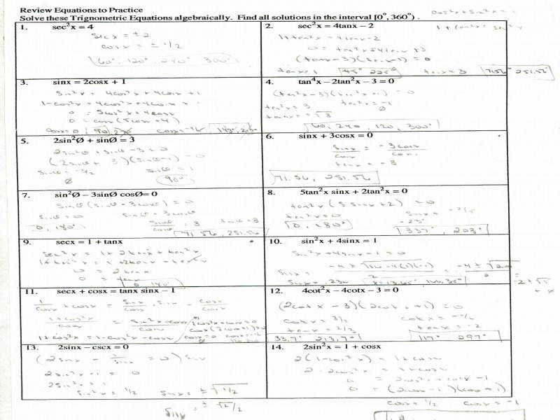 Trigonometric Identities Worksheet Worksheets size 800 x 600 px source weeydii