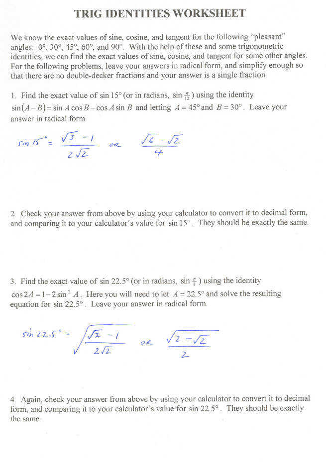 HonorsPre Calculus Verifying Using Trig Identities · Trig Identities Worksheet 3 4