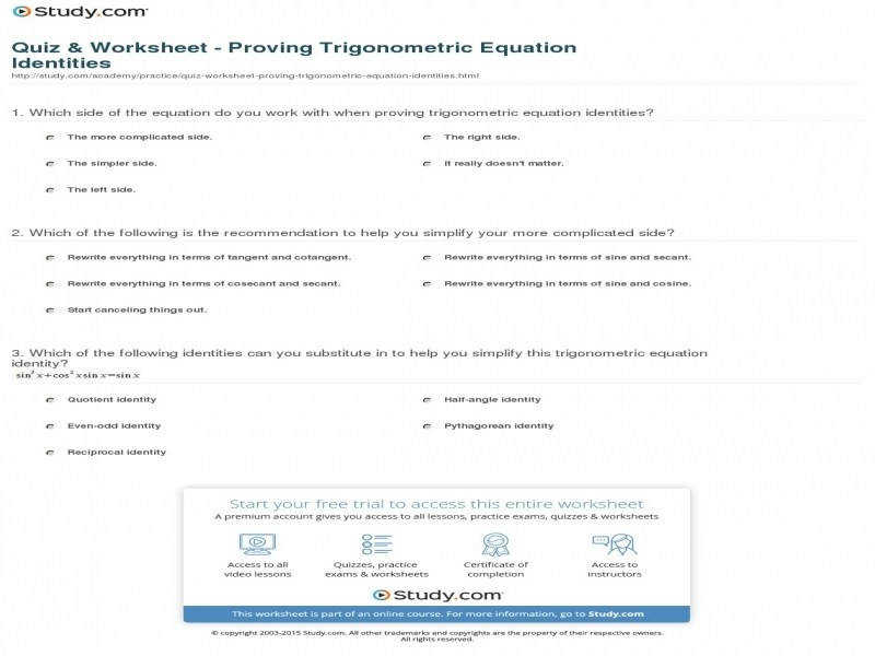 Quiz & Worksheet – Proving Trigonometric Equation Identities