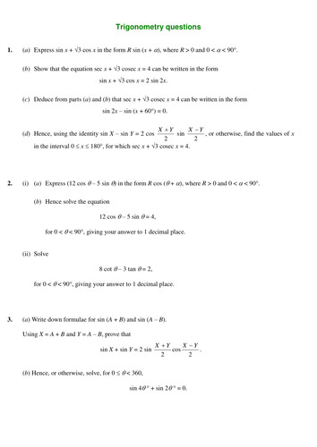 A level Maths C2 Trig equations worksheets by SRWhitehouse Teaching Resources Tes