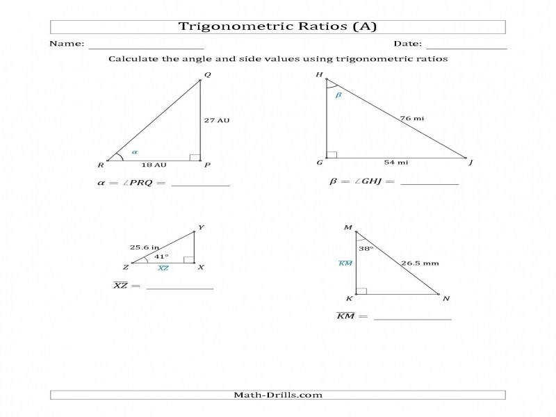 Calculating Angle And Side Values Using Trigonometric Ratios A