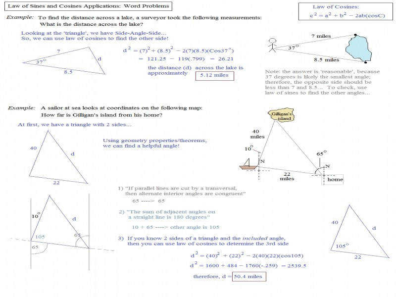 Math Plane Law Sines And Cosines & Area Triangles