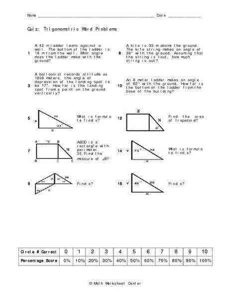 worksheet on trig ratios word problems kidz activities. Black Bedroom Furniture Sets. Home Design Ideas
