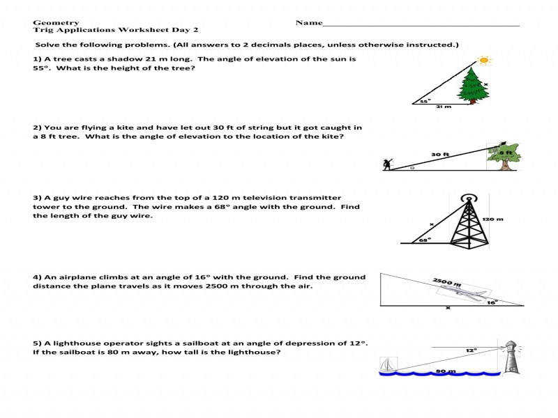 Trig Word Problems Worksheet  Homeschooldressage.com