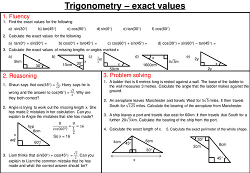 Exact trig values mastery worksheet by joybooth Teaching Resources Tes