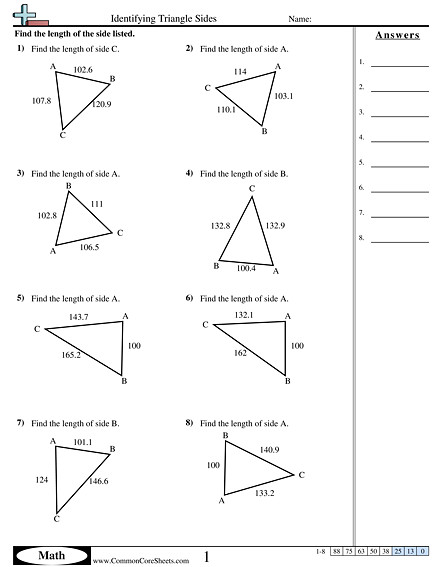 Identifying Triangle Sides worksheet