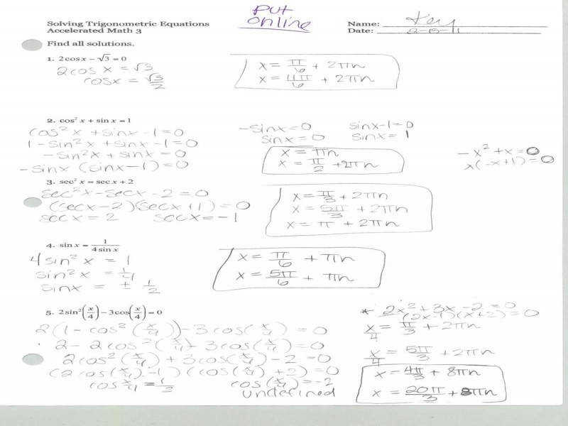 Trig Identity Worksheet Worksheets