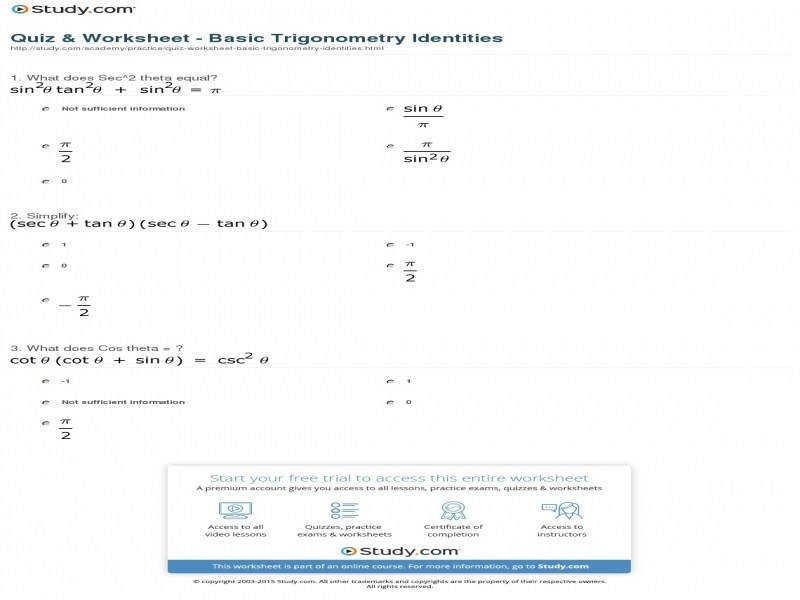 Quiz & Worksheet – Basic Trigonometry Identities