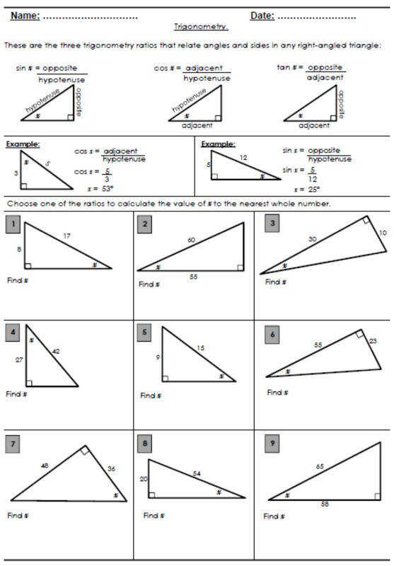 FREE Trigonometry ratio review worksheet