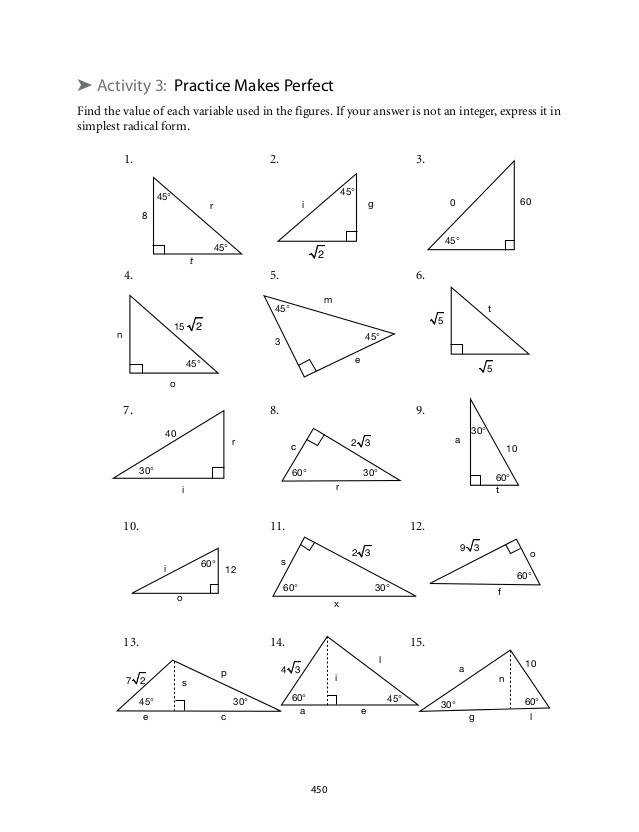 Right Triangle Trigonometry Worksheet