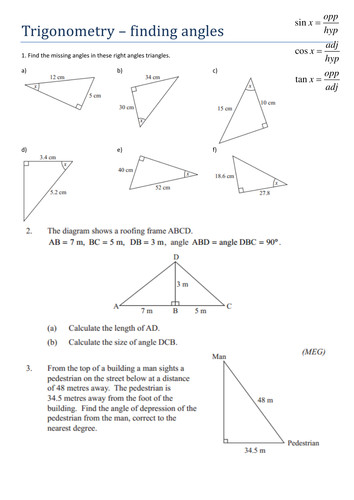 Finding Missing Angles Trigonometry Worksheet Tes Layout with Finding Missing Angles Trigonometry Worksheet Tes