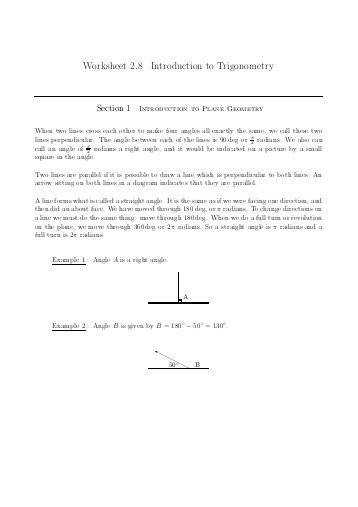 Worksheet 2 8 Introduction to Trigonometry