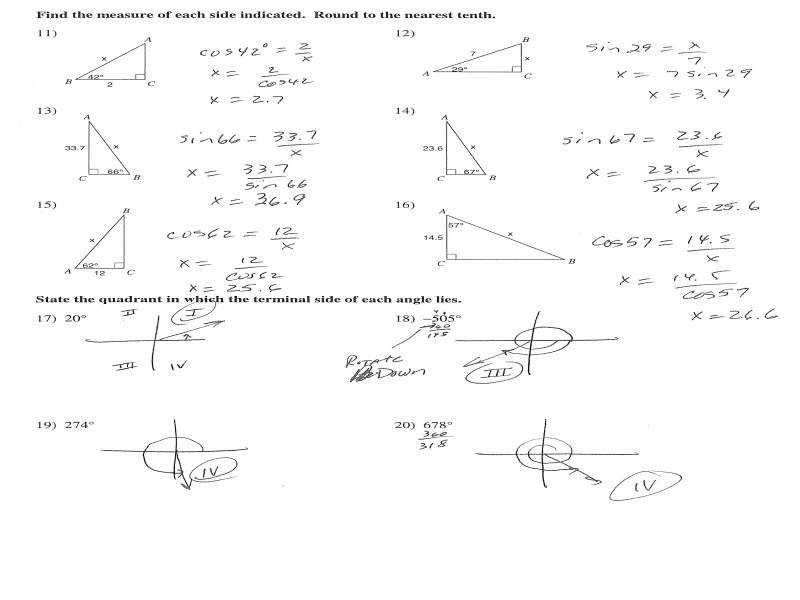Right Triangle Trigonometry Worksheet Intrepidpath Mrs Hall S