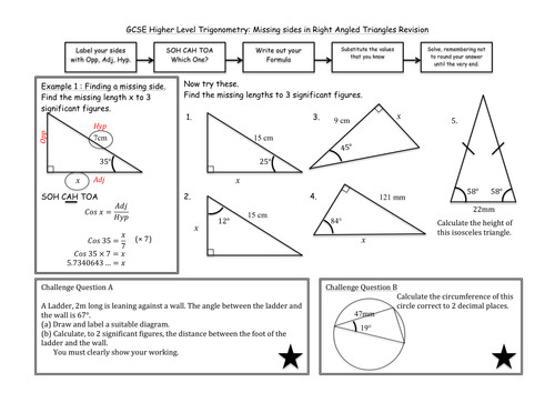 Trigonometry in Right Angled Triangles by madmaths11 Teaching Resources Tes