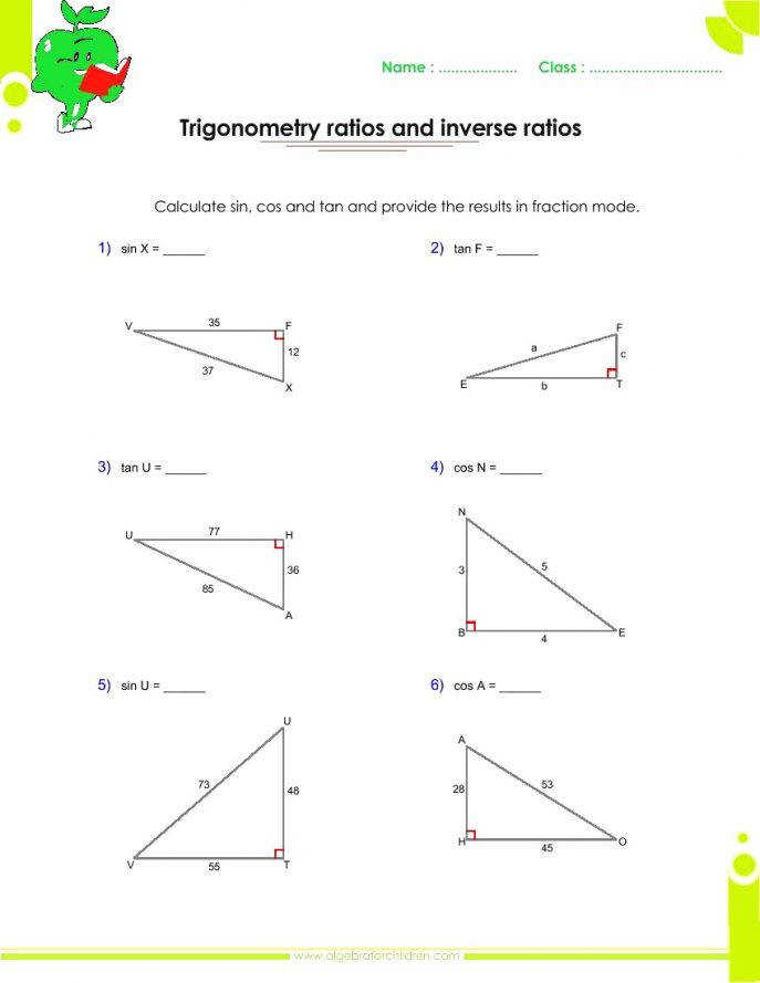 Endearing Right Triangle Trigonometry Worksheets For School Trig Triangles Worksheet Trigonometric Functions In Ratios Answers