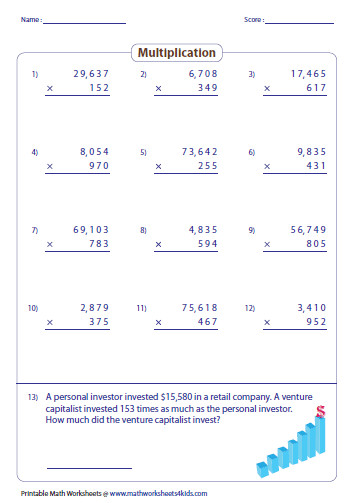 Multiplying 4 and 5 digit by 3 digit numbers