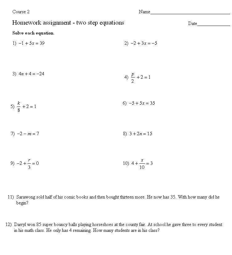 Two Step Equation Worksheet Homeschooldressage. Solving Word Problems With Two Step Equations. Worksheet. 2 Step Equation Word Problems Worksheets At Mspartners.co