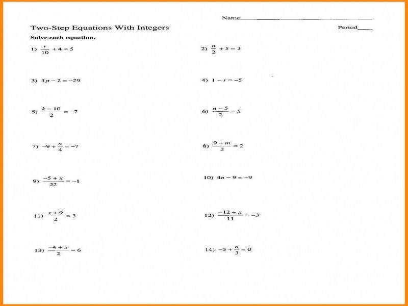 7 Two Step Equations Worksheet