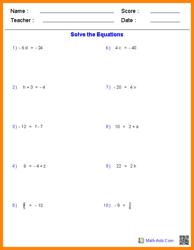 2 step equations worksheetse algebra one step equations integers