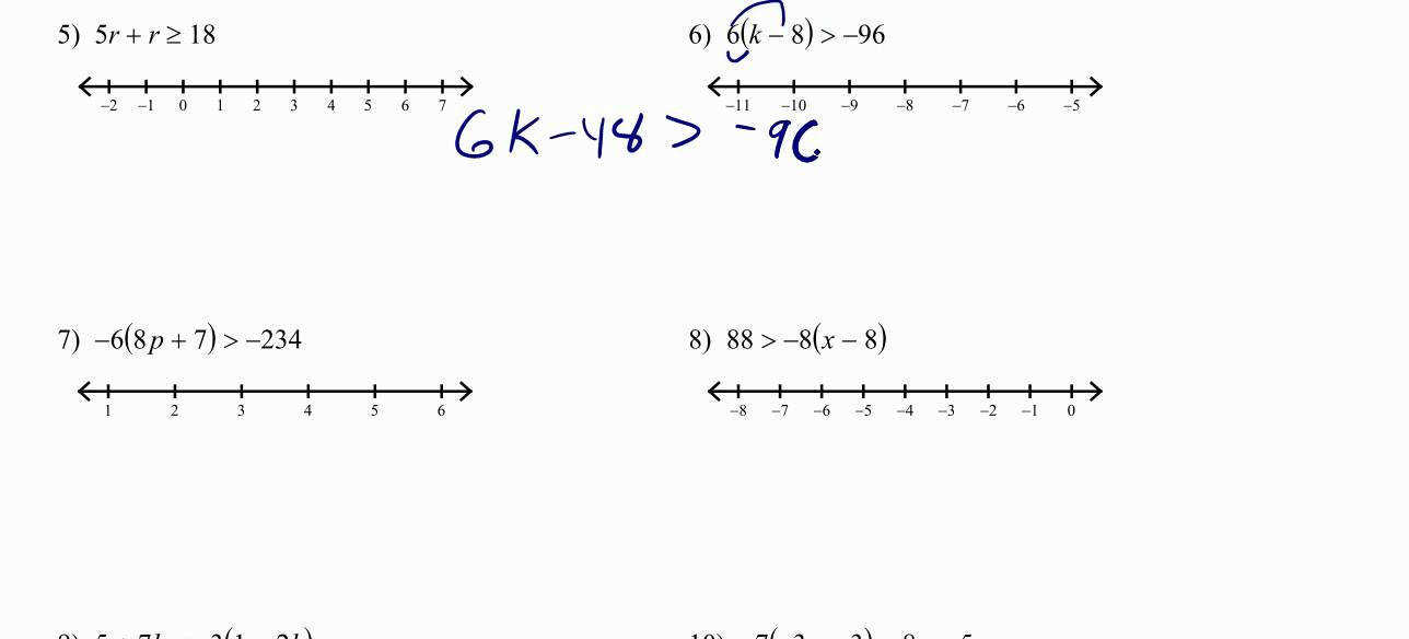 Solving Multi step Inequalities with the Distributive Property