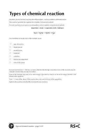 six types of chemical reaction worksheet answer key six types of chemical reactions worksheet davezan