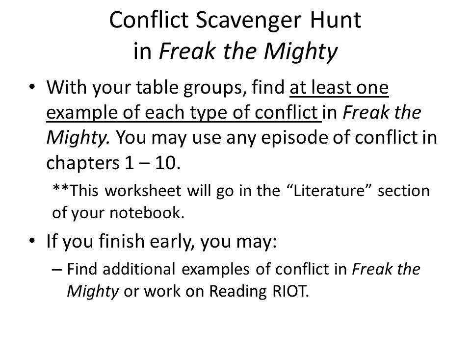 Conflict Scavenger Hunt in Freak the Mighty