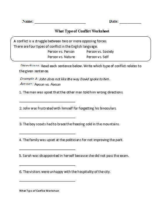 Four Types of Conflict Worksheet Englishlinx Board Pinterest