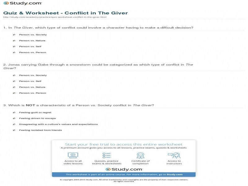 Quiz & Worksheet Conflict In The Giver
