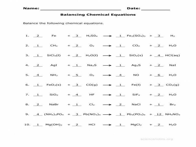 Licious Chemical Reactions Worksheet With Answers Cockpito Types
