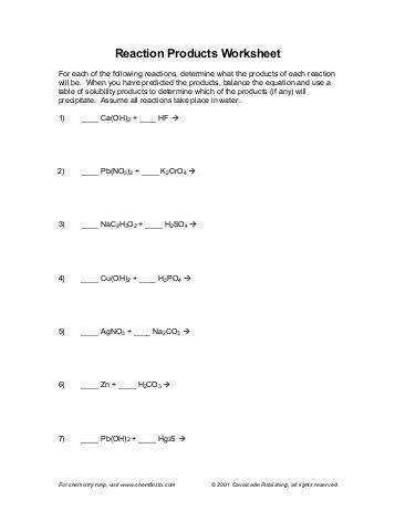 Worksheets Six Types Chemical Reaction Worksheet Answers six types of chemical reaction worksheet products key