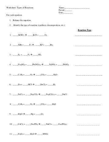 Types Chemical Reactions Worksheet Answer Key Templates and