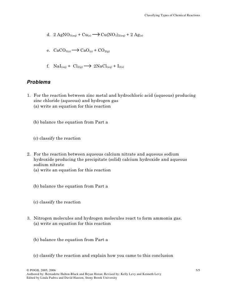 Stony Brook University 5 Classifying Types of Chemical Reactions