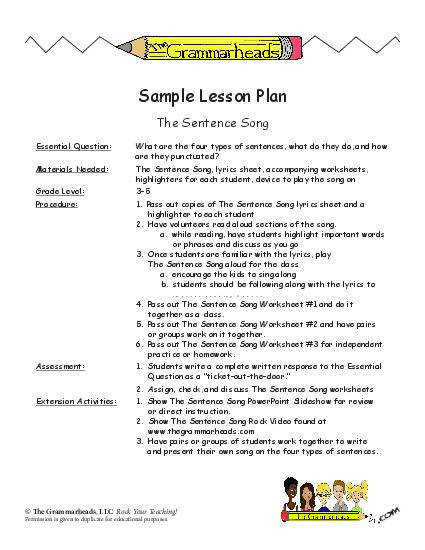 Sentence Worksheet Packet and Lesson Plan