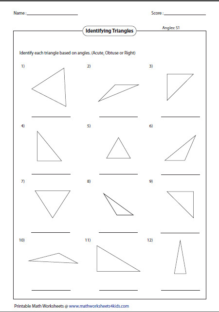 Triangle classification based on angles