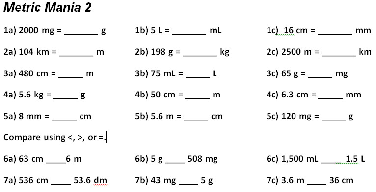 Unit conversion worksheets for converting customary volume units