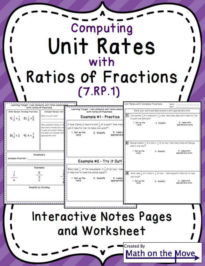 Unit Rates with plex Fractions Notes and Practice 7 RP 1