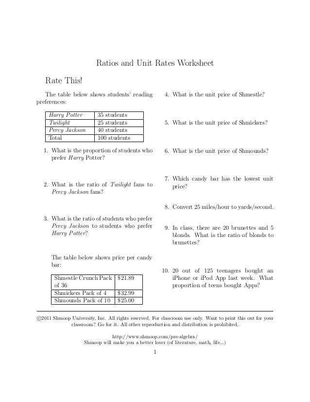 Ratios and Unit Rates Worksheet Rate This The table below shows students reading 4