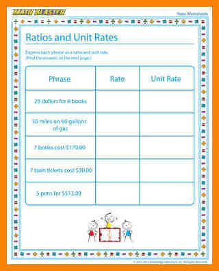 ratios and rates worksheets ratios and unit rates