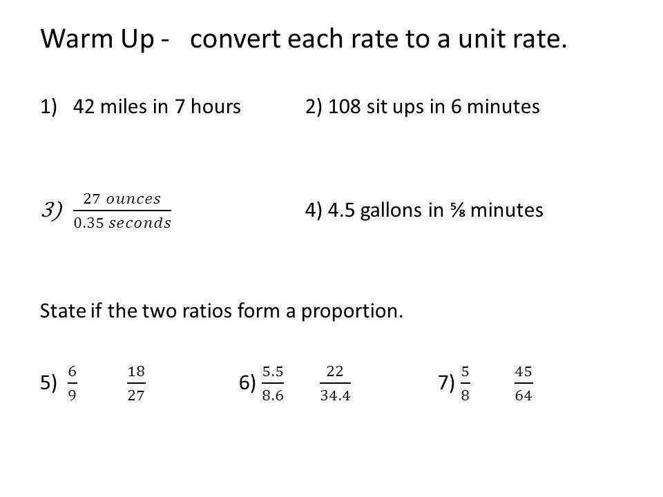 Warm Up convert each rate to a unit rate