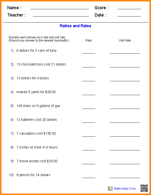 rates and ratios worksheets what is the ratio